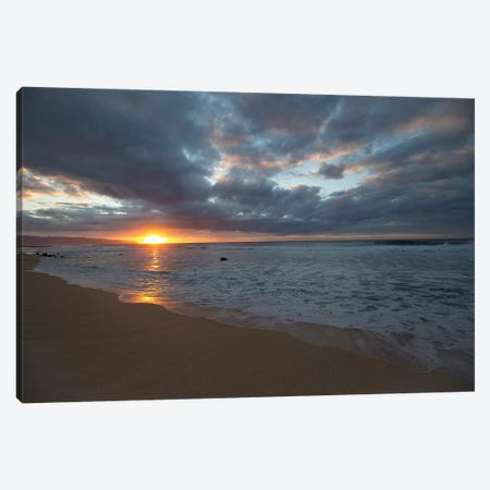 Scenic View Of Surf On Beach Against Cloudy Sky, Hawaii, USA III 3-Piece Canvas #PIM14890} by Panoramic Images Canvas Wall Art