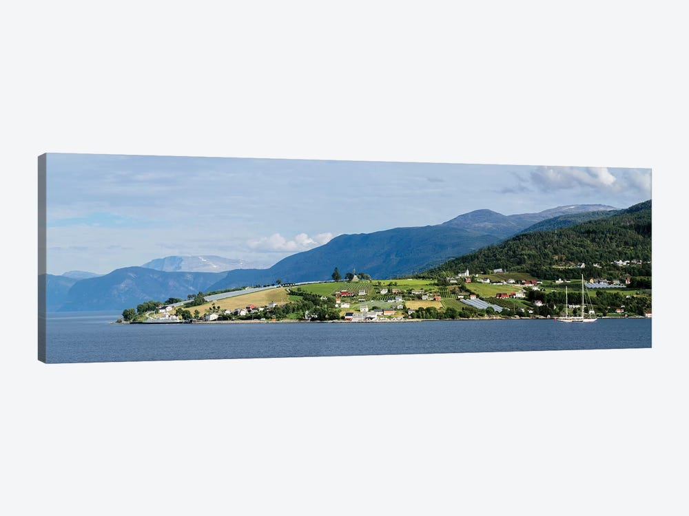 Scenic View Of Village At Seaside, Vangsnes, Vik, Sogn Og Fjordane County, Norway by Panoramic Images 1-piece Canvas Art Print