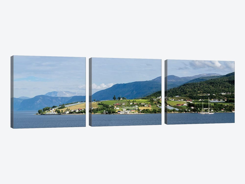 Scenic View Of Village At Seaside, Vangsnes, Vik, Sogn Og Fjordane County, Norway 3-piece Art Print
