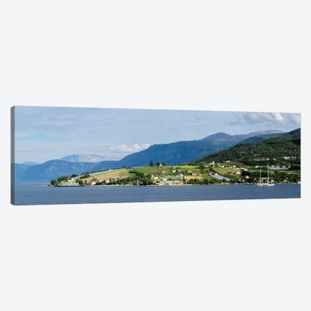 Scenic View Of Village At Seaside, Vangsnes, Vik, Sogn Og Fjordane County, Norway Canvas Print #PIM14891} by Panoramic Images Canvas Artwork