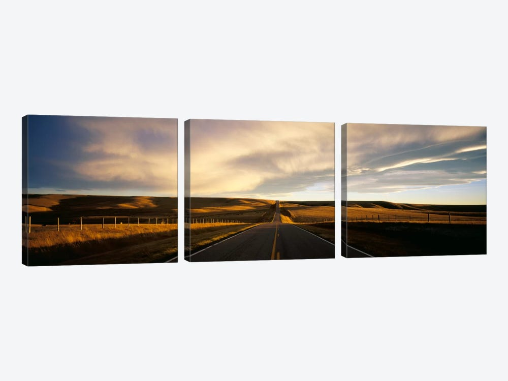 Country Road, Montana, USA by Panoramic Images 3-piece Canvas Artwork