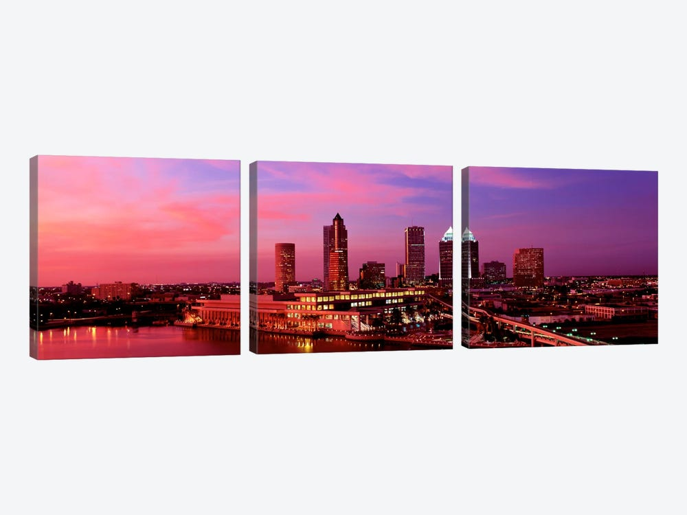 USA, Florida, Tampa , night by Panoramic Images 3-piece Canvas Art Print