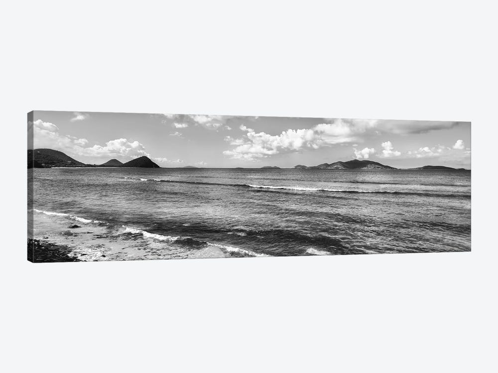 Shoreline North Side Coast And Jost Van Dyke, British Virgin Islands (Black And White) by Panoramic Images 1-piece Canvas Artwork