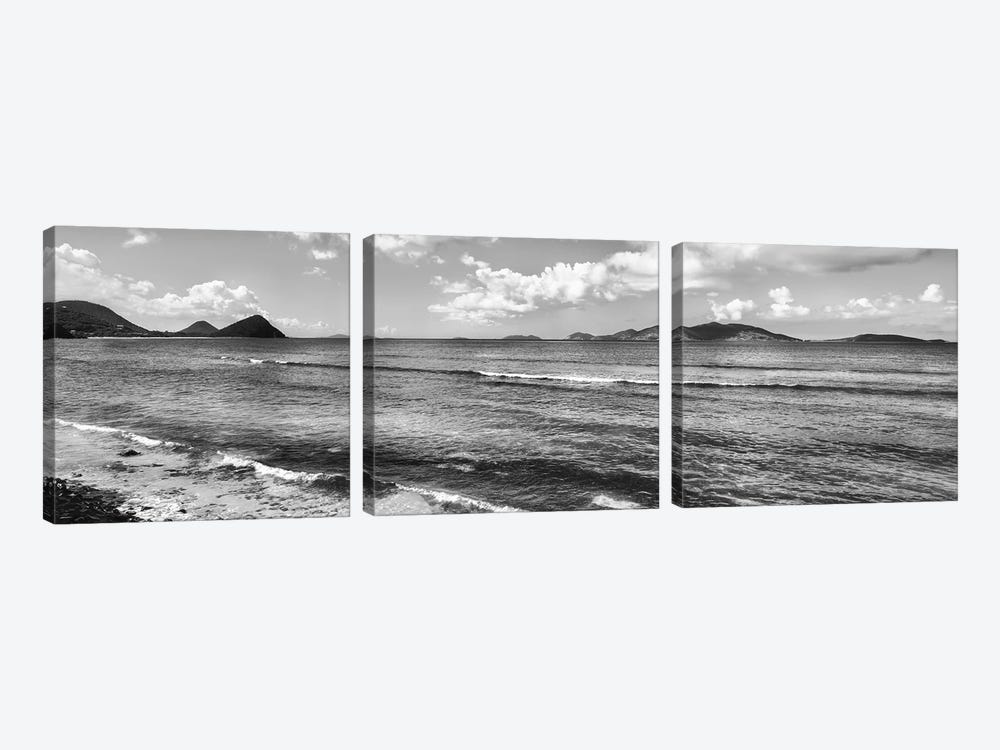 Shoreline North Side Coast And Jost Van Dyke, British Virgin Islands (Black And White) by Panoramic Images 3-piece Canvas Artwork