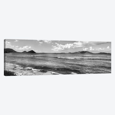 Shoreline North Side Coast And Jost Van Dyke, British Virgin Islands (Black And White) Canvas Print #PIM14904} by Panoramic Images Art Print