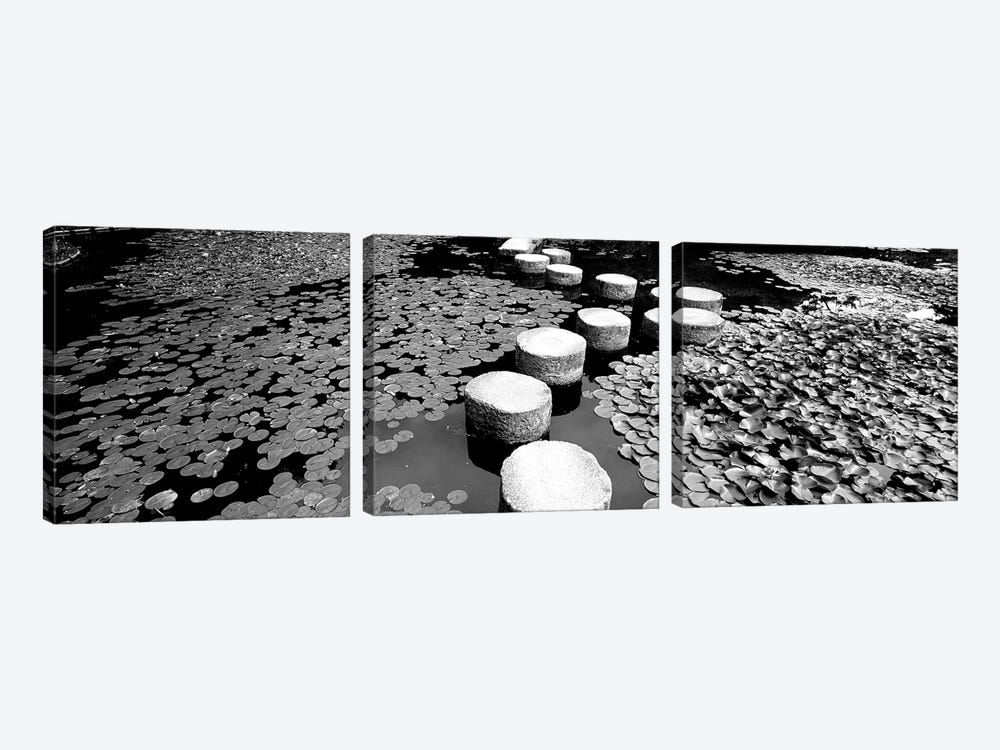 Shrine Garden, Kyoto, Japan (Black And White) II by Panoramic Images 3-piece Canvas Art