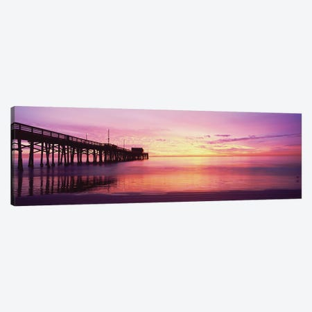 Silhouette Of A Pier At Sunset, Newport Pier, Newport Beach, Balboa Peninsula, California, USA Canvas Print #PIM14908} by Panoramic Images Canvas Art