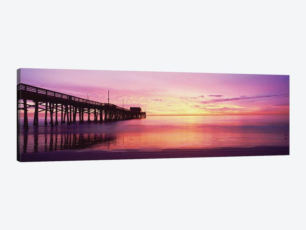 Silhouette Of A Pier At Sunset, Newport Pier, Newport Beach, Balboa Peninsula, California, USA by Panoramic Images 1-piece Canvas Art