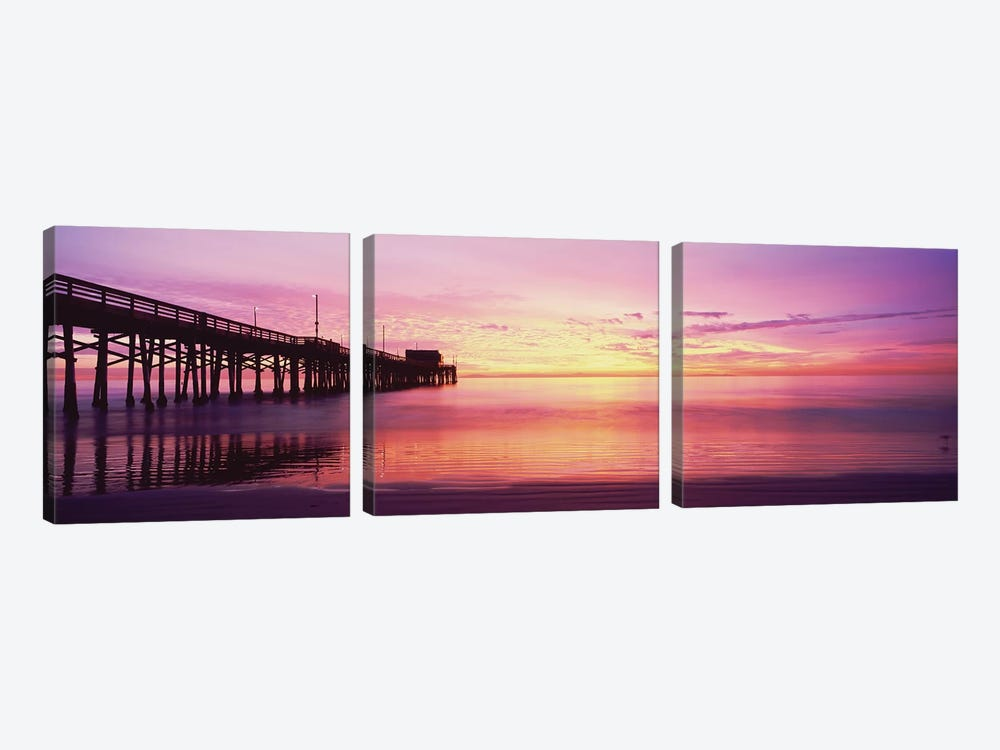 Silhouette Of A Pier At Sunset, Newport Pier, Newport Beach, Balboa Peninsula, California, USA by Panoramic Images 3-piece Canvas Wall Art