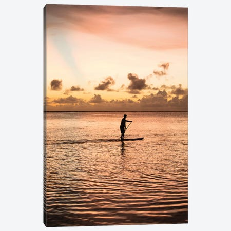 Silhouette Of Man Paddleboarding In The Pacific Ocean, Bora Bora, Society Islands, French Polynesia Canvas Print #PIM14909} by Panoramic Images Canvas Art