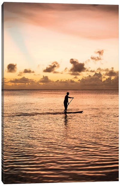 Silhouette Of Man Paddleboarding In The Pacific Ocean, Bora Bora, Society Islands, French Polynesia Canvas Art Print