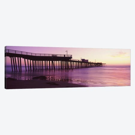 Silhouette Of Pismo Pier At Dusk, Pismo Beach, San Luis Obispo County, California, USA I Canvas Print #PIM14911} by Panoramic Images Art Print