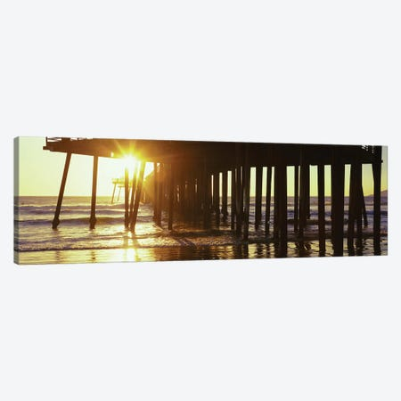 Silhouette Of Pismo Pier At Dusk, Pismo Beach, San Luis Obispo County, California, USA II Canvas Print #PIM14912} by Panoramic Images Canvas Art Print