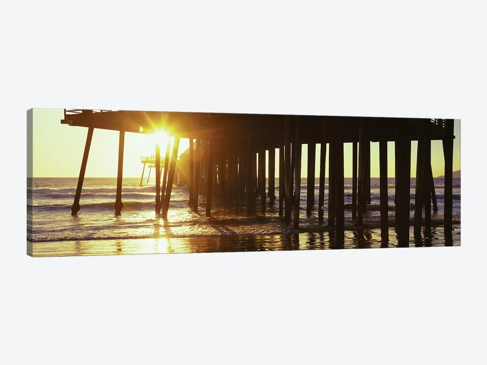 Silhouette Of Pismo Pier At Dusk, Pismo Beach, San Luis Obispo County, California, USA II by Panoramic Images 1-piece Canvas Art Print