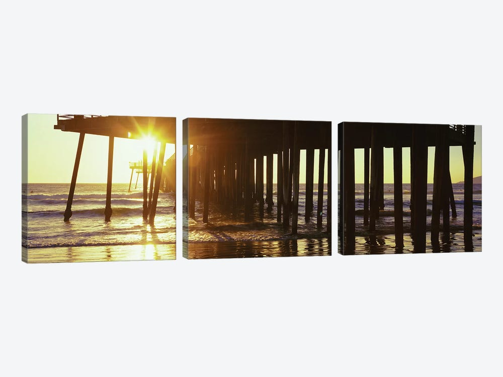 Silhouette Of Pismo Pier At Dusk, Pismo Beach, San Luis Obispo County, California, USA II by Panoramic Images 3-piece Canvas Art Print