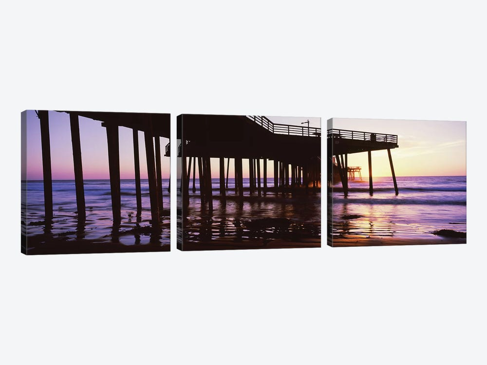 Silhouette Of Pismo Pier At Dusk, Pismo Beach, San Luis Obispo County, California, USA III by Panoramic Images 3-piece Canvas Art