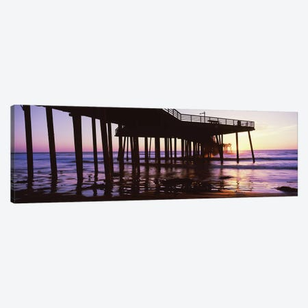 Silhouette Of Pismo Pier At Dusk, Pismo Beach, San Luis Obispo County, California, USA III Canvas Print #PIM14913} by Panoramic Images Canvas Art Print
