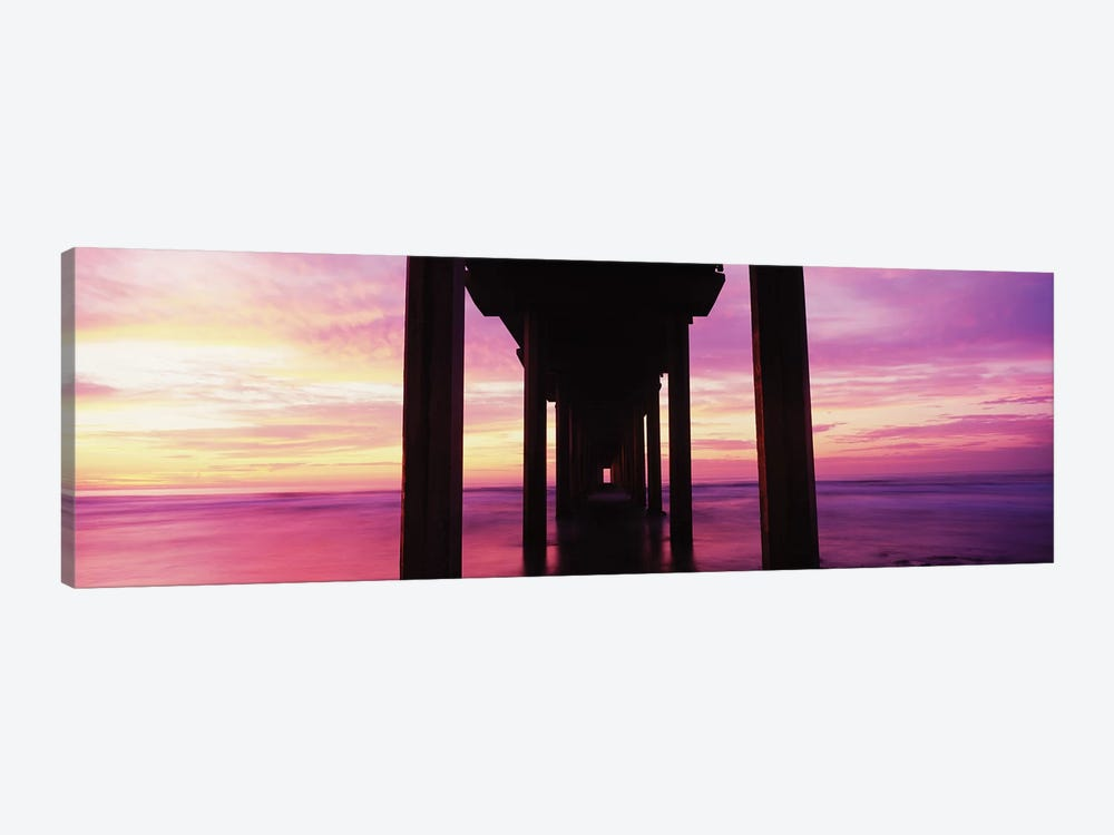 Silhouette Of Scripps Pier At Sunset, La Jolla, San Diego, California, USA I by Panoramic Images 1-piece Canvas Art Print