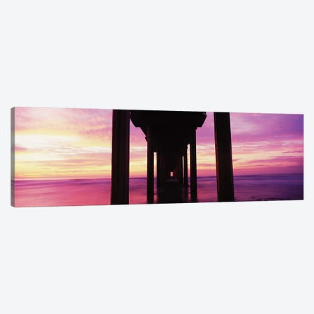Silhouette Of Scripps Pier At Sunset, La Jolla, San Diego, California, USA I Canvas Print #PIM14914} by Panoramic Images Canvas Artwork