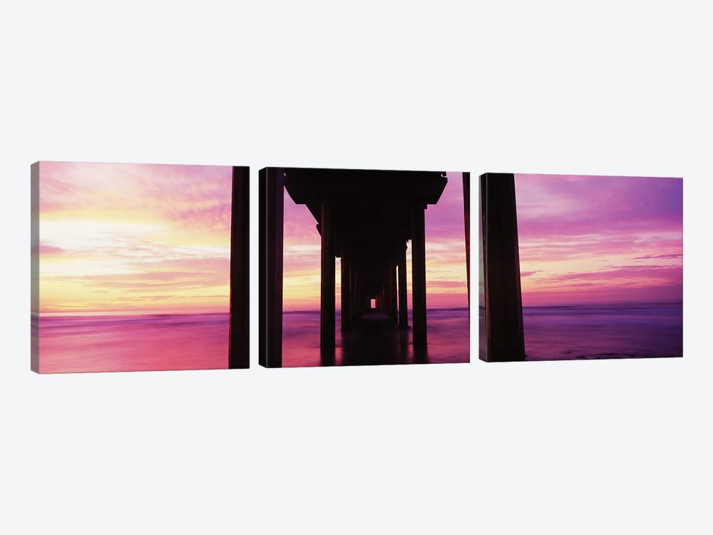 Silhouette Of Scripps Pier At Sunset, La Jolla, San Diego, California, USA I by Panoramic Images 3-piece Art Print