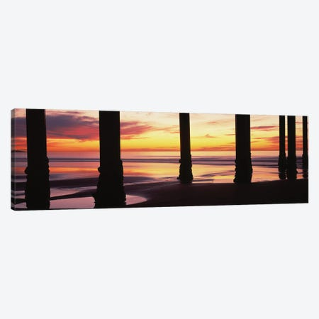 Silhouette Of Scripps Pier At Sunset, La Jolla, San Diego, California, USA II Canvas Print #PIM14915} by Panoramic Images Canvas Artwork