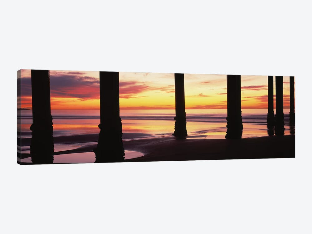 Silhouette Of Scripps Pier At Sunset, La Jolla, San Diego, California, USA II by Panoramic Images 1-piece Canvas Artwork