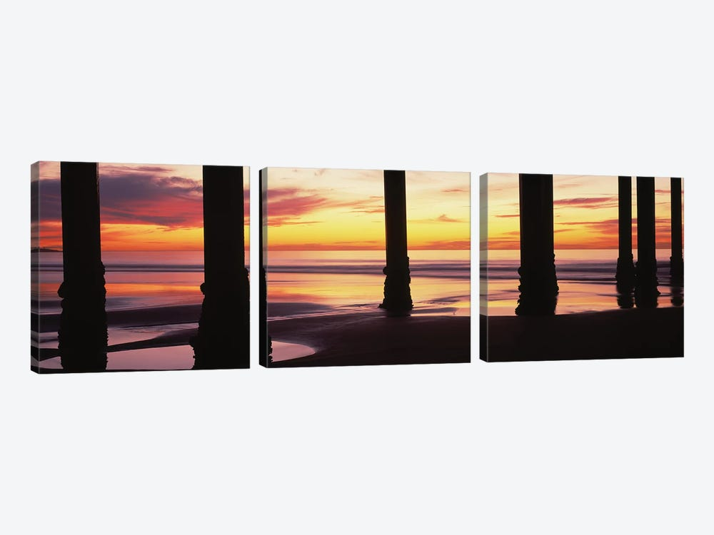 Silhouette Of Scripps Pier At Sunset, La Jolla, San Diego, California, USA II by Panoramic Images 3-piece Canvas Art
