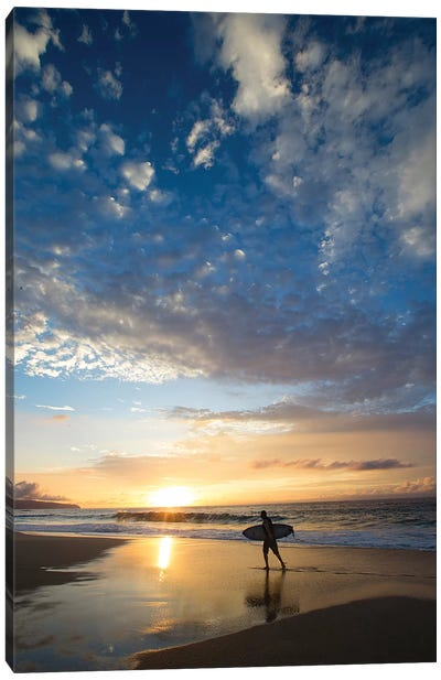 Silhouette Of Surfer Walking On The Beach At Sunset, North Shore, Hawaii, USA Canvas Art Print