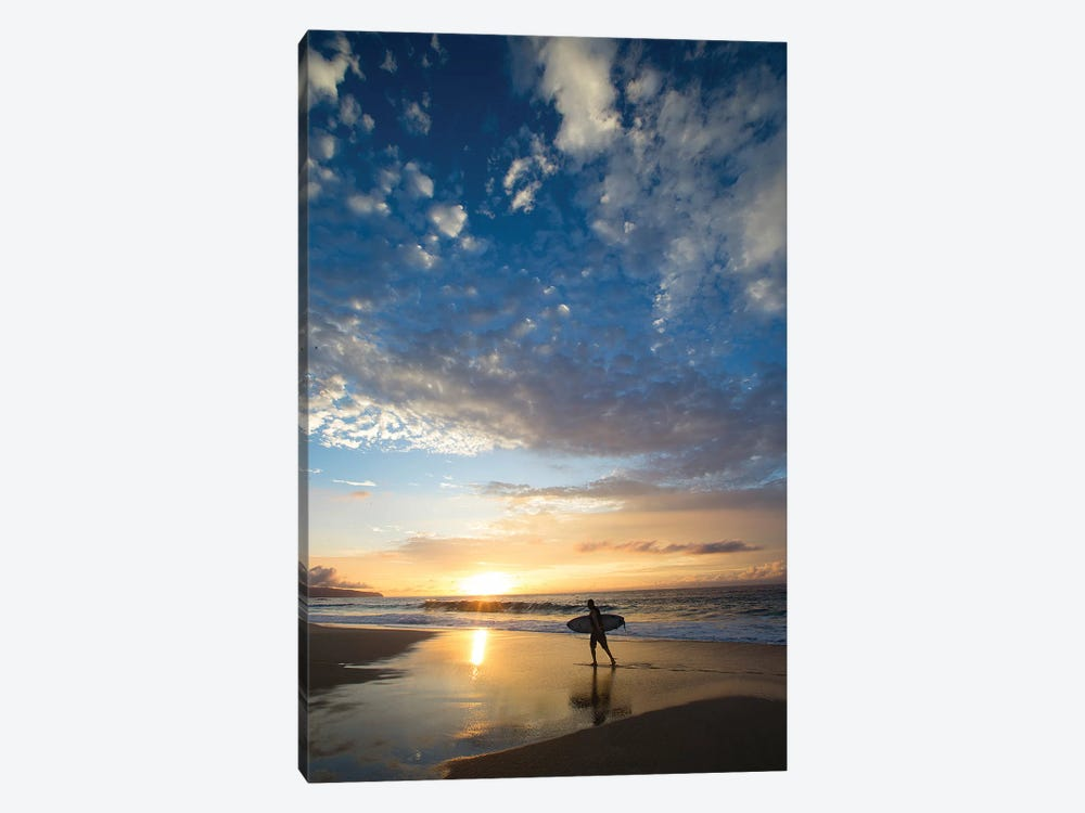 Silhouette Of Surfer Walking On The Beach At Sunset, North Shore, Hawaii, USA by Panoramic Images 1-piece Canvas Print