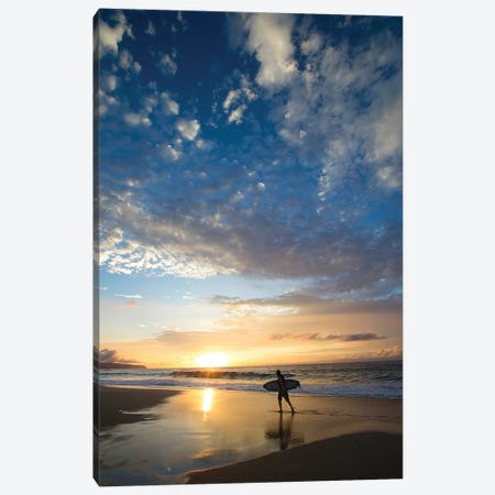 Silhouette Of Surfer Walking On The Beach At Sunset, North Shore, Hawaii, USA Canvas Print #PIM14916} by Panoramic Images Canvas Art