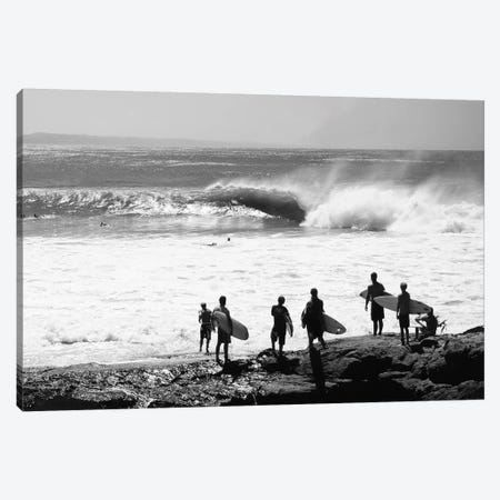 Silhouette Of Surfers Standing On The Beach, Australia Canvas Print #PIM14917} by Panoramic Images Canvas Wall Art