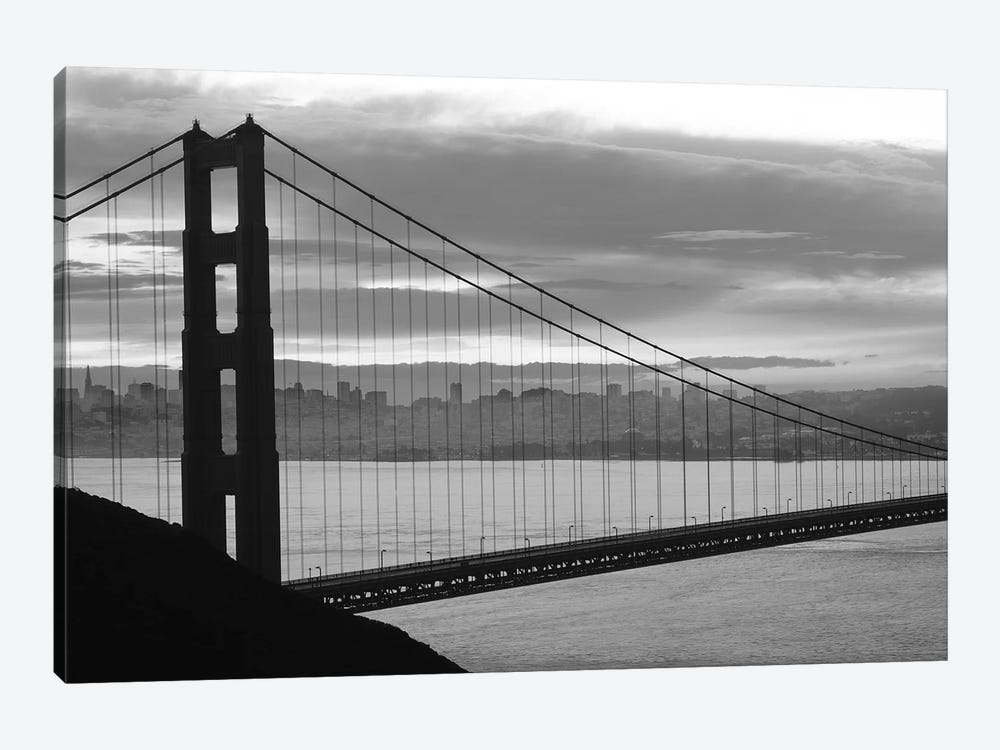 Silhouette Of Suspension Bridge At Dusk, Golden Gate Bridge, San Francisco, California, USA by Panoramic Images 1-piece Canvas Print