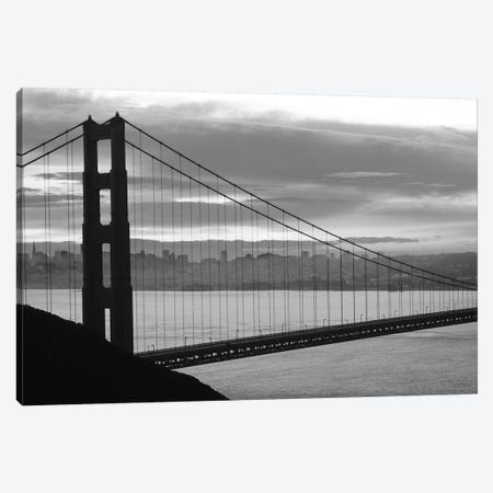Silhouette Of Suspension Bridge At Dusk, Golden Gate Bridge, San Francisco, California, USA Canvas Print #PIM14918} by Panoramic Images Art Print
