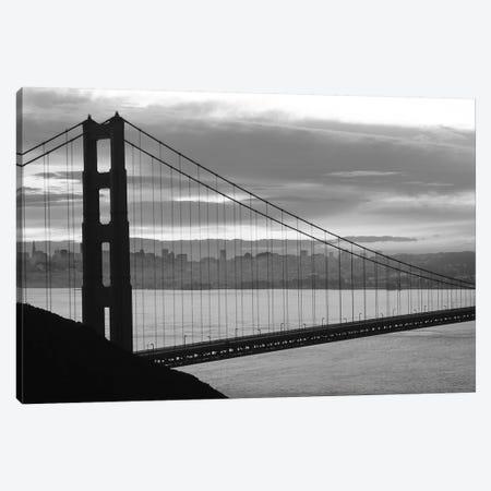 Silhouette Of Suspension Bridge At Dusk, Golden Gate Bridge, San Francisco, California, USA Canvas Print #PIM14918} by Panoramic Images Art Print