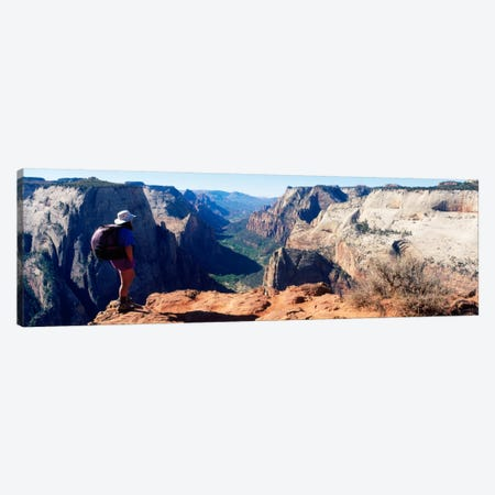 Female hiker standing near a canyonZion National Park, Washington County, Utah, USA Canvas Print #PIM1491} by Panoramic Images Canvas Artwork