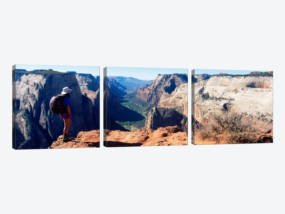 Female hiker standing near a canyonZion National Park, Washington County, Utah, USA by Panoramic Images 3-piece Canvas Art Print
