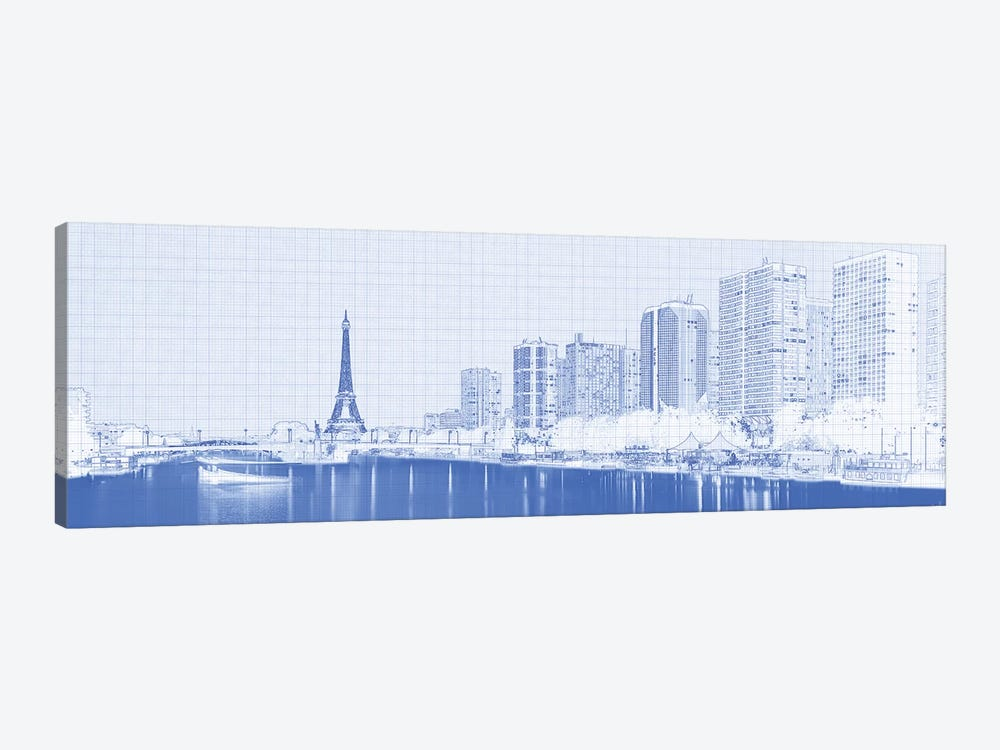 Skyscraper At The Waterfront With Eiffel Tower In The Background, Seine River, Paris, France by Panoramic Images 1-piece Canvas Art Print