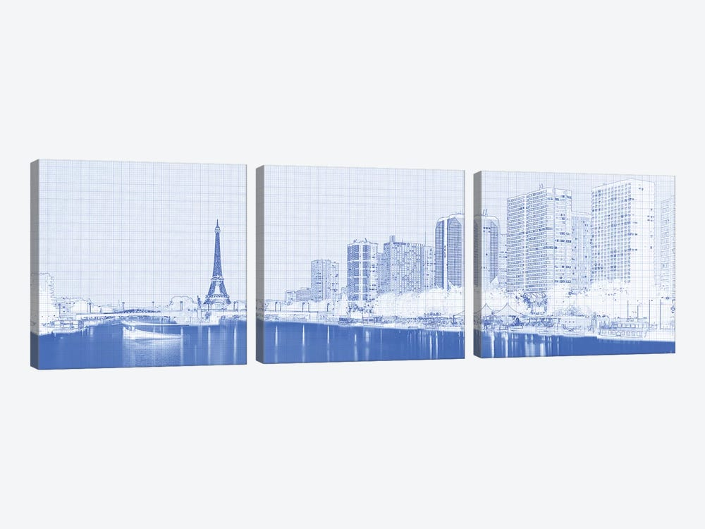 Skyscraper At The Waterfront With Eiffel Tower In The Background, Seine River, Paris, France by Panoramic Images 3-piece Canvas Print