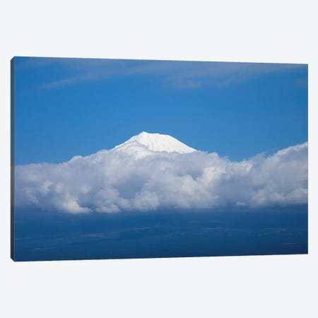 Snow Covered Peak Of Mt. Fuji Seen From Bullet Train, Japan Canvas Print #PIM14927} by Panoramic Images Art Print