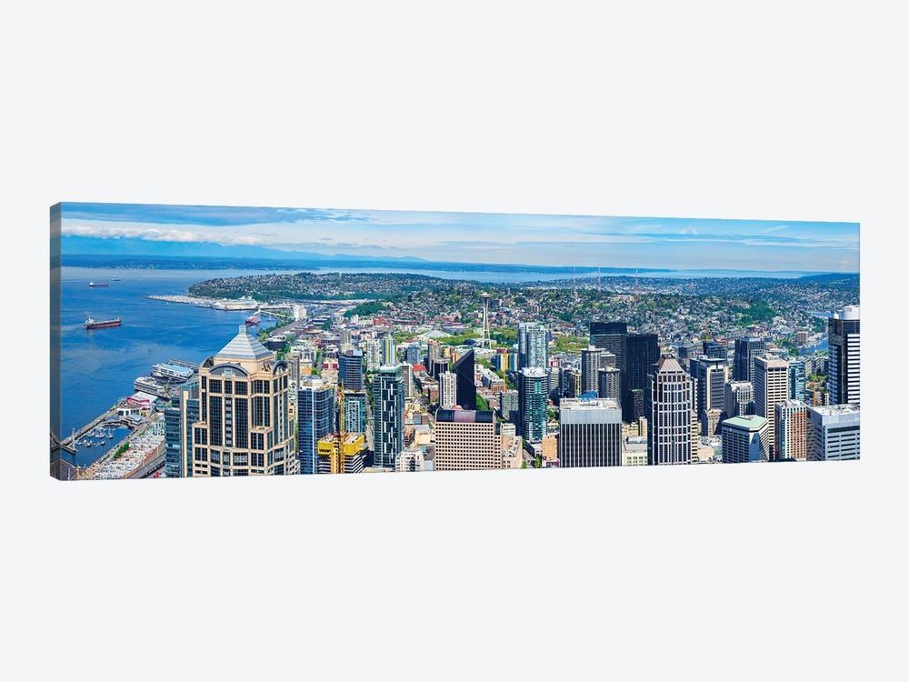Space Needle Tower Seen From Sky View Observatory - Columbia Center, Seattle, Washington State, USA by Panoramic Images 1-piece Canvas Art Print
