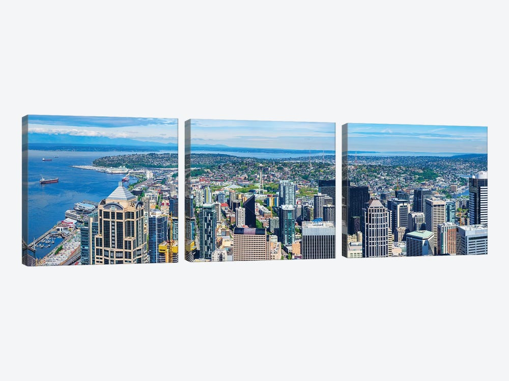 Space Needle Tower Seen From Sky View Observatory - Columbia Center, Seattle, Washington State, USA by Panoramic Images 3-piece Canvas Art Print