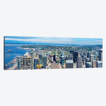 Space Needle Tower Seen From Sky View Observatory - Columbia Center, Seattle, Washington State, USA 3-Piece Canvas #PIM14929} by Panoramic Images Canvas Wall Art