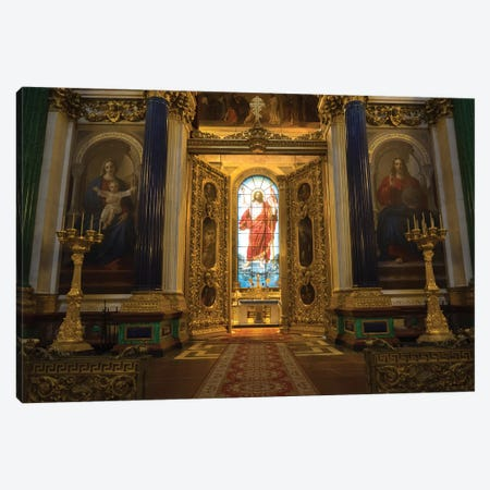 Stained Glass Of Jesus Christ At St. Isaac's Cathedral, St. Petersburg, Russia Canvas Print #PIM14931} by Panoramic Images Canvas Art Print