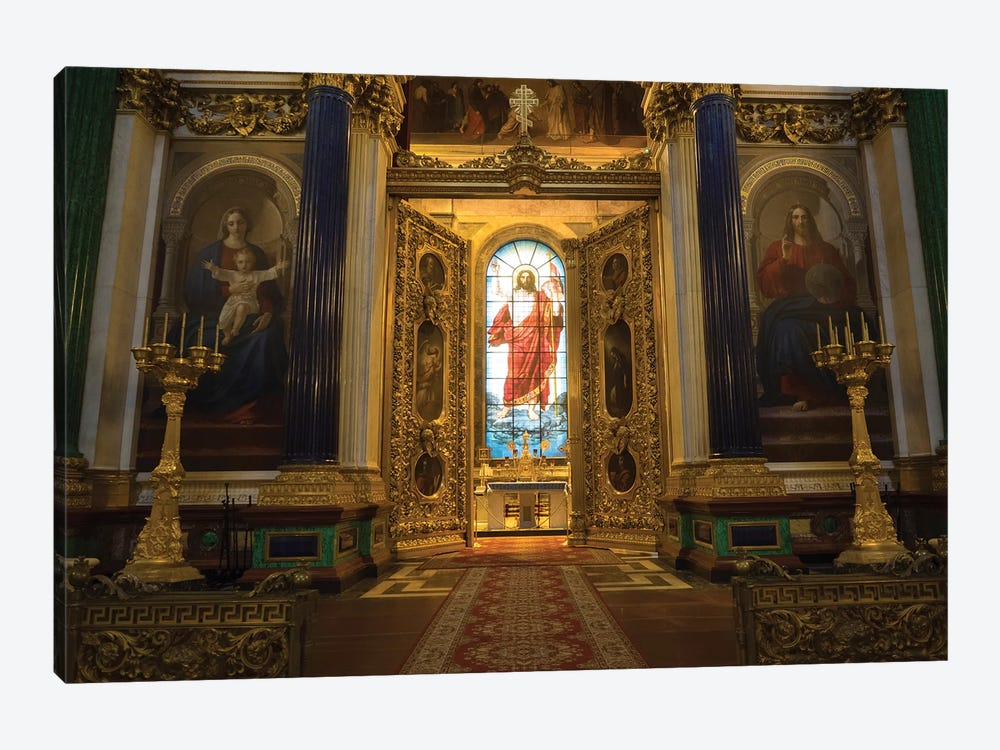 Stained Glass Of Jesus Christ At St. Isaac's Cathedral, St. Petersburg, Russia by Panoramic Images 1-piece Canvas Art