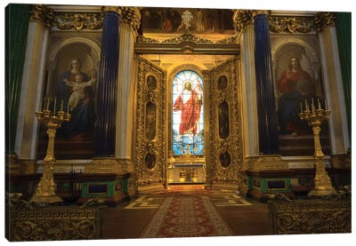 Stained Glass Of Jesus Christ At St. Isaac's Cathedral, St. Petersburg, Russia Canvas Art Print
