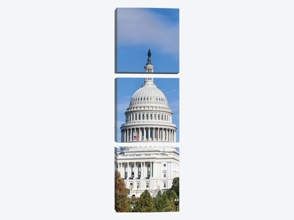 Street View Of Capitol Building, Washington D.C., USA I by Panoramic Images 3-piece Canvas Artwork
