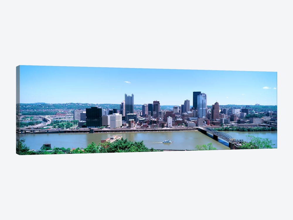 Buildings at the waterfront, Monongahela River, Pittsburgh, Pennsylvania, USA by Panoramic Images 1-piece Canvas Art Print