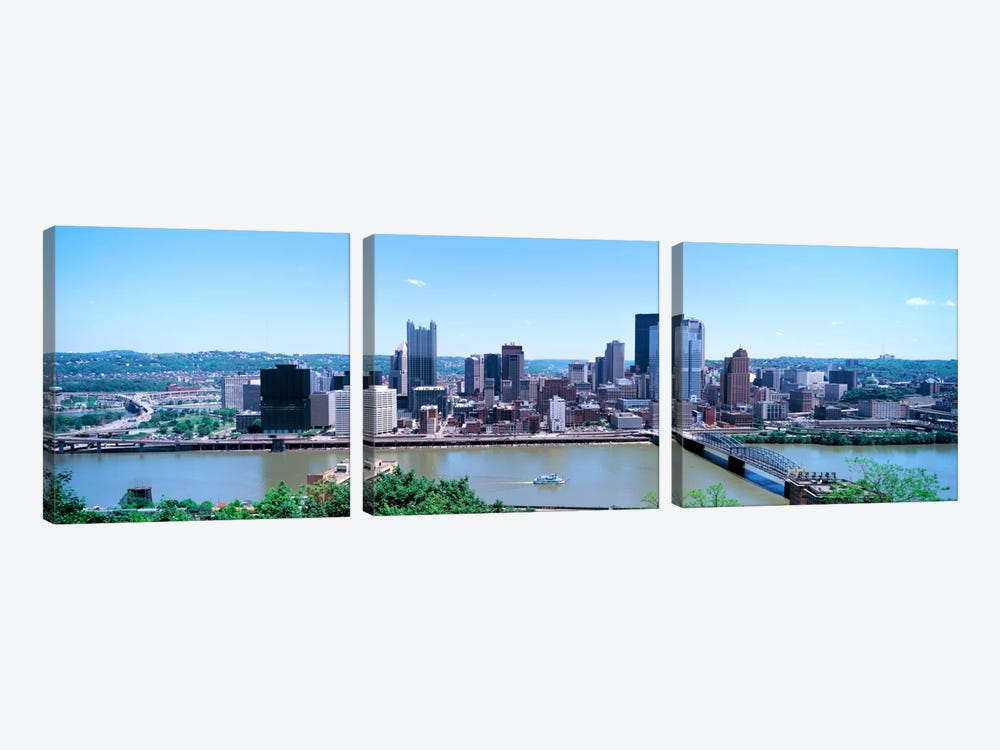 Buildings at the waterfront, Monongahela River, Pittsburgh, Pennsylvania, USA by Panoramic Images 3-piece Canvas Print