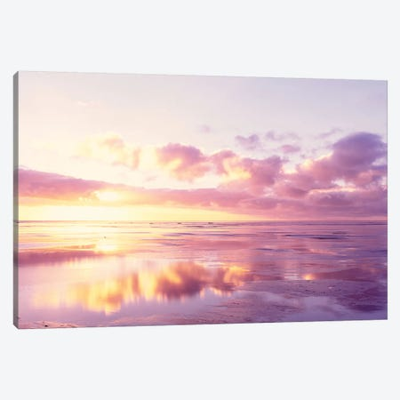 Sunrise On Beach, North Sea, Germany 3-Piece Canvas #PIM14943} by Panoramic Images Canvas Art