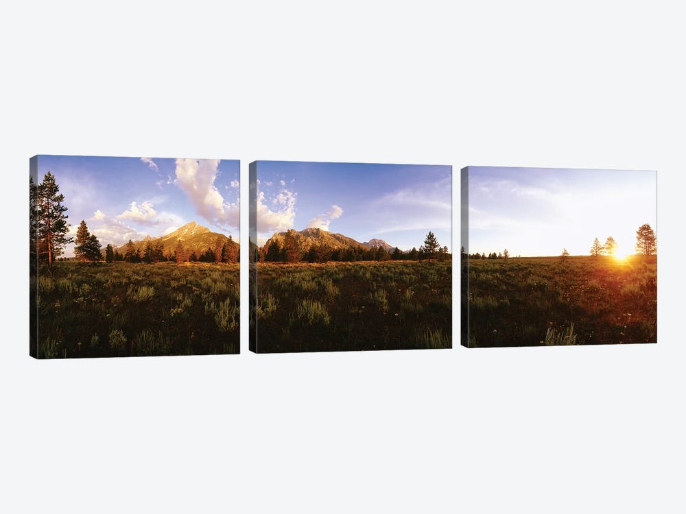 Sunrise Over Teton Range, Grand Teton National Park, Wyoming, USA by Panoramic Images 3-piece Canvas Wall Art